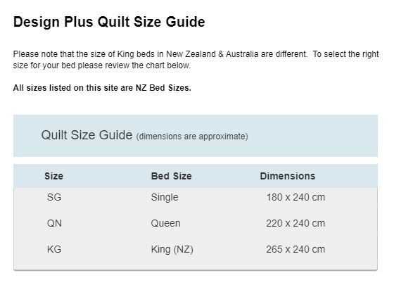 Design Plus Quilt Size Guide